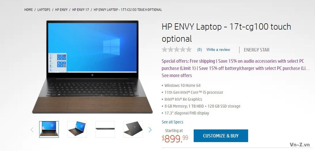 HP ra mắt máy tính xách tay ENVY 17 Intel core thế hệ thứ 11, phần kê tay bằng gỗ